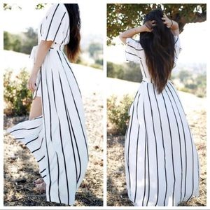 Black and White Striped High Low Romper / Maxi